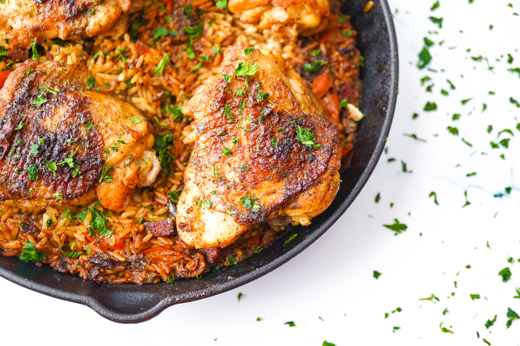 one-pan oven-baked chicken and rice
